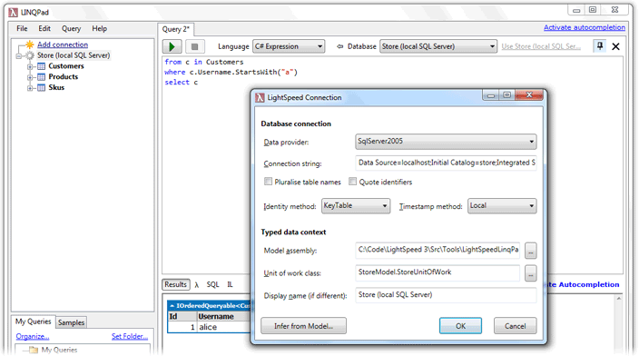 Screenshot of configuring LINQPad with LightSpeed