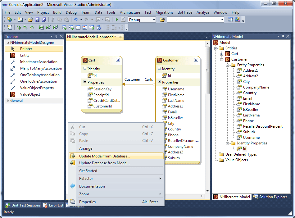 NHibernate Designer by Mindscape in action