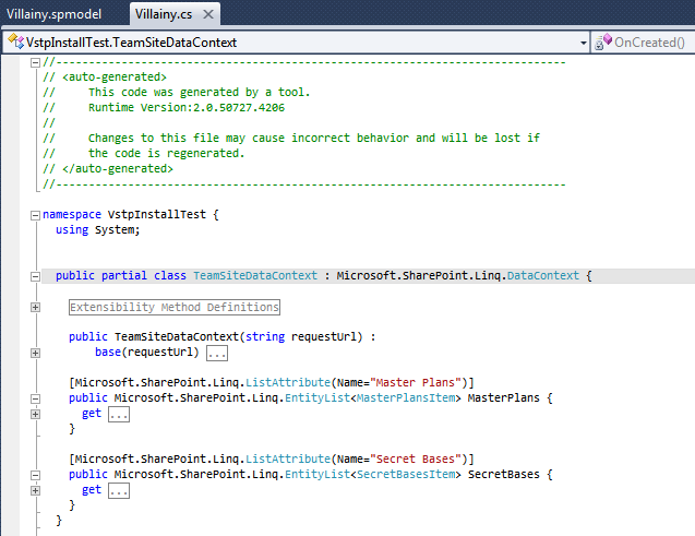 Generated SP-Metal code in Visual Studio