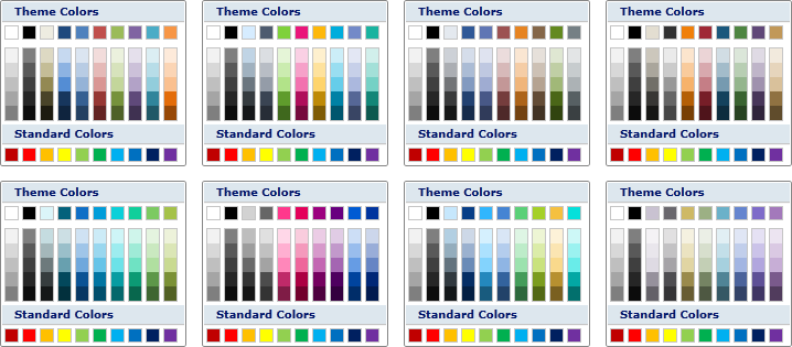 A few of the predefined color palettes.