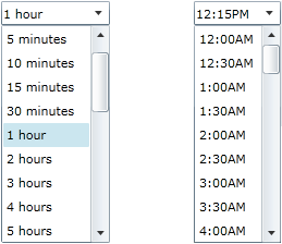 Silverlight Time Picker and Time Span controls