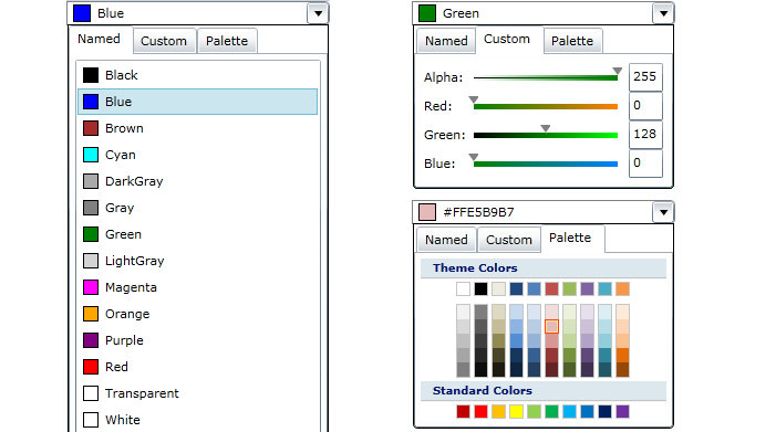 Silverlight Color Picker controls