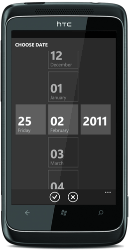 WP7 date picker control