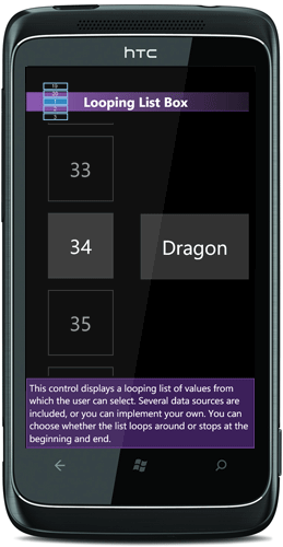 WP7 looping list box control