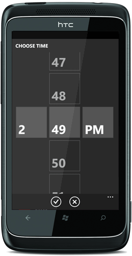 WP7 time picker control