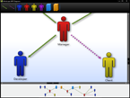 Sample application showing a customised diagram with an organisational chart being displayed.