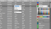 Custom cell editor, showing a color picker control and a combobox editor