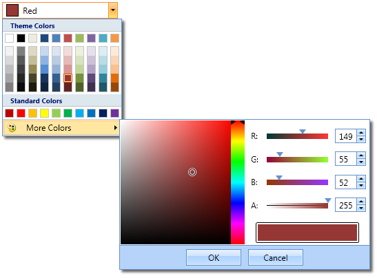 Drop down color picker with 'More Colors' button