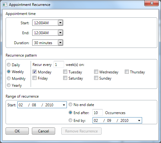 WPF Scheduler recurrence dialog