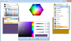 A selection of available color pickers <br />WPF Elements includes gorgeous and powerful color picker controls, allowing you to provide your users with many ways to select colors, including drop-down lists with rich support for additional commands, HSV pickers and even totally custom layouts such as hexagonal.